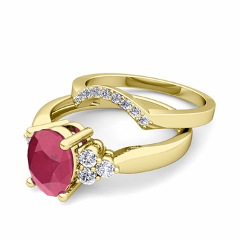 Three Stone Diamond and Ruby Engagement Ring Bridal Set in 18k Gold, 9x7mm