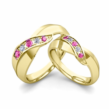 Matching Wedding Band in 18k Gold Infinity Diamond and Pink Sapphire Wedding Rings