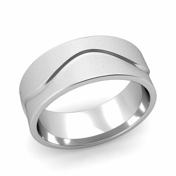 Wave Wedding Band in Platinum Comfort Fit Ring, Satin Finish, 8mm