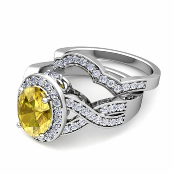 Infinity Diamond and Yellow Sapphire Engagement Ring Bridal Set in Platinum, 7x5mm
