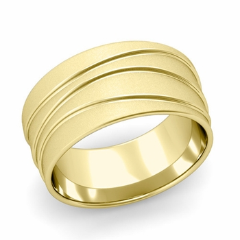 Wave Comfort Fit Wedding Ring in 18k Gold Satin Finish Band, 10mm