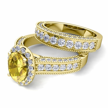 Bridal Set of Heirloom Diamond and Yellow Sapphire Engagement Wedding Ring in 18k Gold, 7x5mm