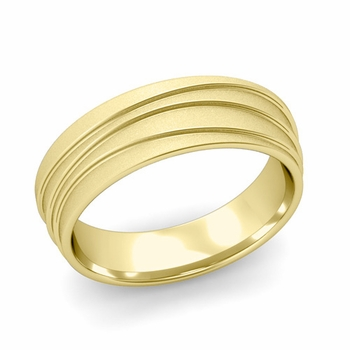 Wave Comfort Fit Wedding Ring in 18k Gold Satin Finish Band, 6mm
