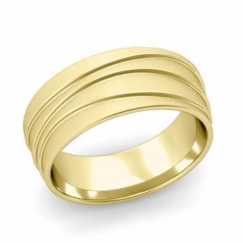 Wave Comfort Fit Wedding Ring in 18k Gold Satin Finish Band, 8mm