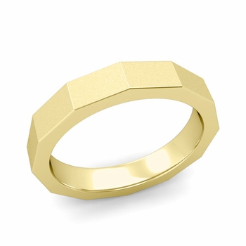 Square Comfort Fit Wedding Ring in 18k Gold Matte Satin Finish Band, 4mm