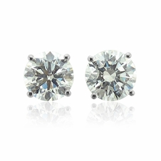 Diamond Earrings in 14k White Gold 4 Prong Setting (G, SI1, 0.50 cttw)