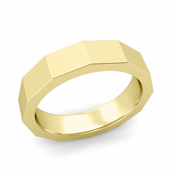 Square Comfort Fit Wedding Ring in 18k Gold Matte Satin Finish Band, 5mm