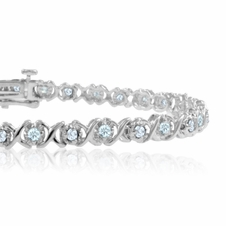XOXO Diamond Bracelet in 14k White Gold Tennis Bracelet (G, SI2, 1.00 cttw), 7 inches
