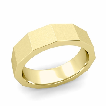 Square Comfort Fit Wedding Ring in 18k Gold Matte Satin Finish Band, 6mm