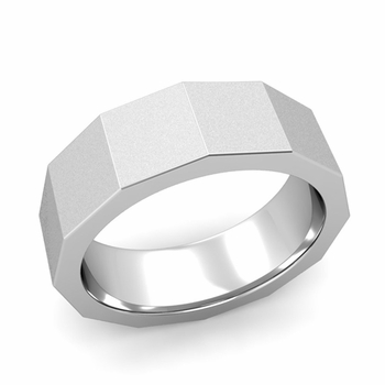 Square Comfort Fit Wedding Ring in 14k Gold Matte Satin Finish Band, 7mm