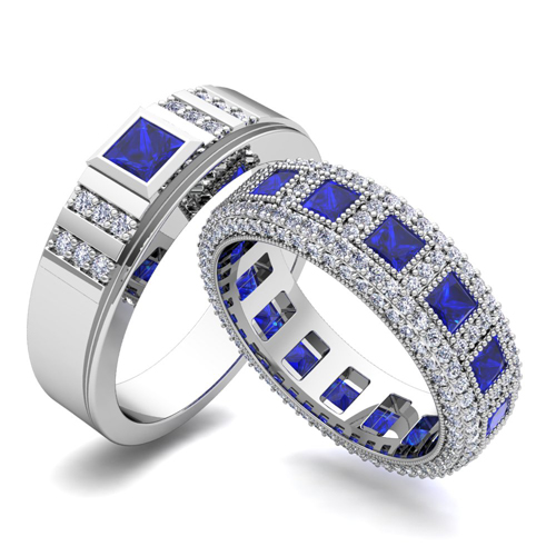 His And Hers Sapphire And Diamond Wedding Bands In 14k