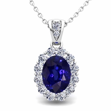 Halo Diamond and Sapphire Necklace in 14k Gold Pendant 8x6mm