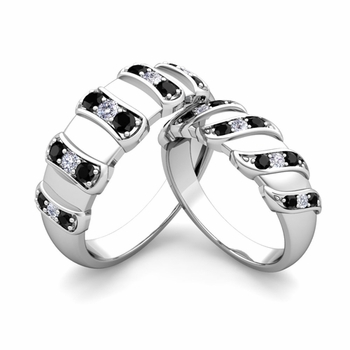 Matching Wedding Band in Platinum Twisted Black and White Diamond Wedding Rings