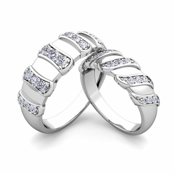 Matching Wedding Band in Platinum Twisted Diamond Wedding Rings