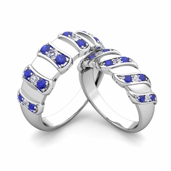Matching Wedding Band in Platinum Twisted Diamond and Sapphire Wedding Rings
