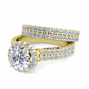 Two Row Diamond Engagement Ring Bridal Set in 18k Gold