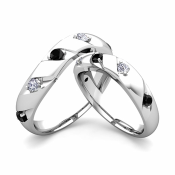 Matching Wedding Band in 14k Gold Curved Black and White Diamond Wedding Rings