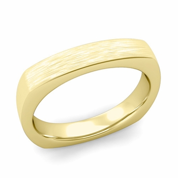 Square Comfort Fit Wedding Ring in 18K Gold Matte Brushed Band, 4mm