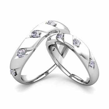 Matching Wedding Band in 14k Gold Curved Diamond Wedding Rings