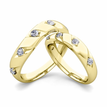 Matching Wedding Band in 18k Gold Curved Diamond Wedding Rings