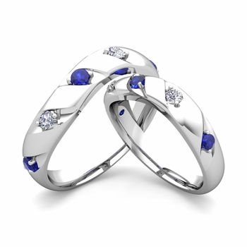 Matching Wedding Band in 14k Gold Curved Diamond and Sapphire Wedding Rings