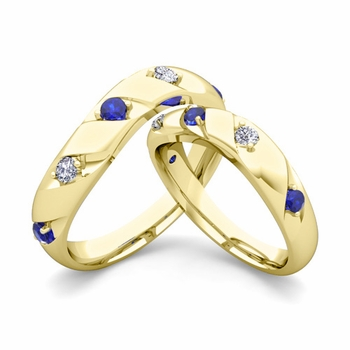 Matching Wedding Band in 18k Gold Curved Diamond and Sapphire Wedding Rings