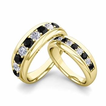 Matching Wedding Band in 18k Gold Brilliant Black and White Diamond Wedding Rings