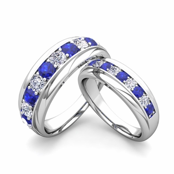 Matching Wedding Band in 14k Gold Brilliant Diamond and Sapphire Wedding Rings