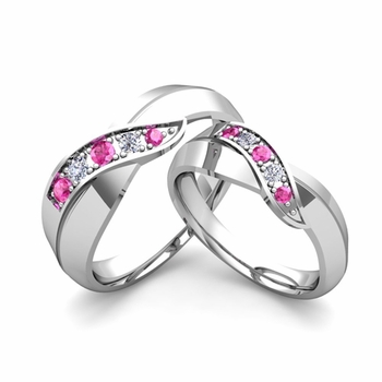 Matching Wedding Band in 14k Gold Infinity Diamond and Pink Sapphire Wedding Rings