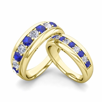 Matching Wedding Band in 18k Gold Brilliant Diamond and Sapphire Wedding Rings