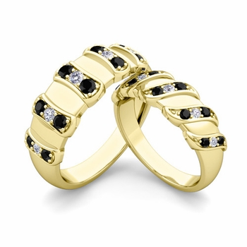 Matching Wedding Band in 18k Gold Twisted Black and White Diamond Wedding Rings