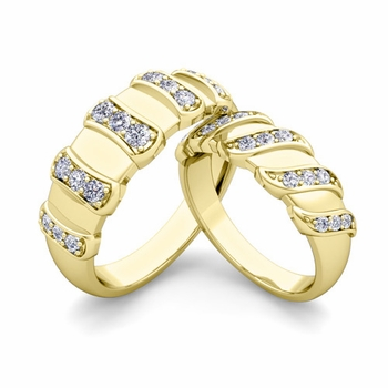 Matching Wedding Band in 18k Gold Twisted Diamond Wedding Rings