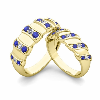 Matching Wedding Band in 18k Gold Twisted Diamond and Sapphire Wedding Rings