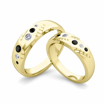 Matching Wedding Ring Set: Flush Set Black and White Diamond Ring in 18k Gold