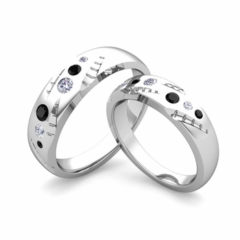 Matching Wedding Ring Set: Flush Set Black and White Diamond Ring in Platinum