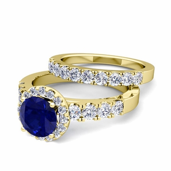 Halo Bridal Set: Pave Diamond and Sapphire Wedding Ring Set in 18k Gold, 7mm