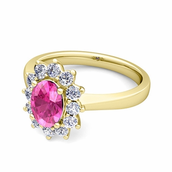 Brilliant Diamond and Pink Sapphire Diana Engagement Ring in 18k Gold, 9x7mm