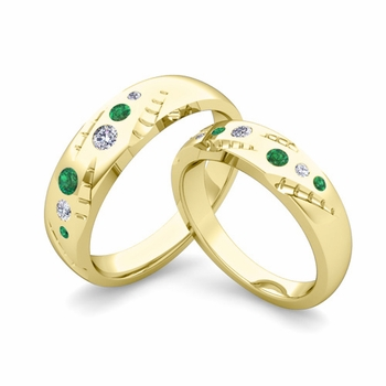 Matching Wedding Ring Set: Flush Set Diamond and Emerald Ring in 18k Gold