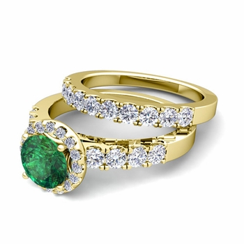 Halo Bridal Set: Pave Diamond and Emerald Wedding Ring Set in 18k Gold, 7mm