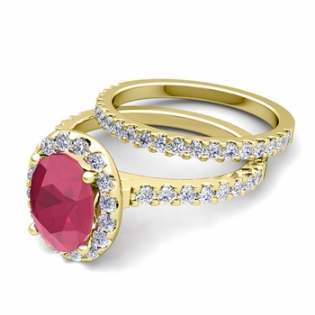 Bridal Set: Pave Diamond and Ruby Engagement Wedding Ring in 18k Gold, 7x5mm