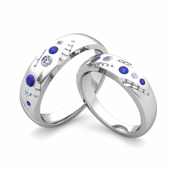 Matching Wedding Ring Set: Flush Set Diamond and Sapphire Ring in Platinum