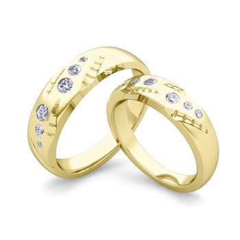 Matching Wedding Ring Set: Flush Set Diamond Wedding Band in 18k Gold