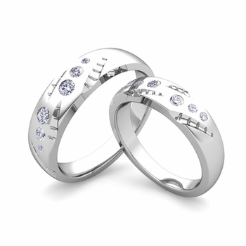 Matching Wedding Ring Set: Flush Set Diamond Wedding Band in Platinum