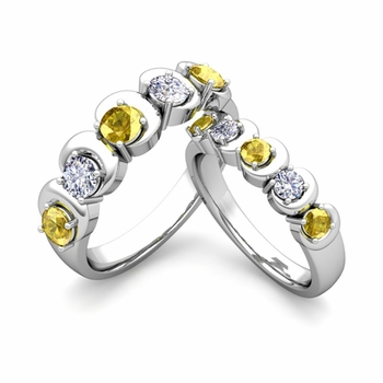 His and Hers Matching Wedding Band in Platinum 5 Stone Diamond and Yellow Sapphire Ring