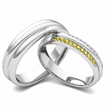 Matching Wedding Band in Platinum Pave Diamond and Yellow Sapphire Ring