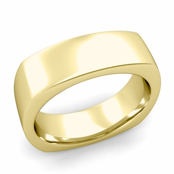 Square Comfort Fit Wedding Ring in 18K Gold Polished Band, 7mm