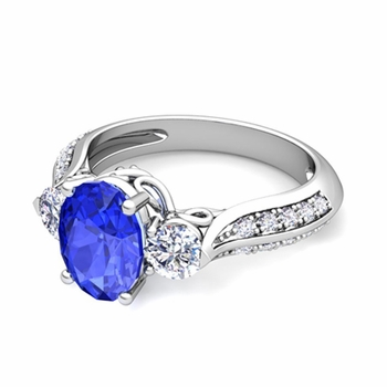 Vintage Inspired Diamond and Ceylon Sapphire Three Stone Ring in 14k Gold, 7x5mm