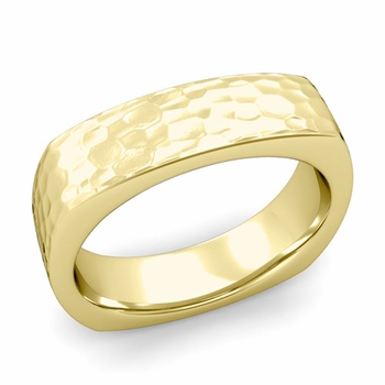 Square Comfort Fit Wedding Ring in 18K Gold Matte Hammered Band, 6mm
