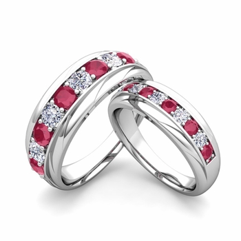 Matching Wedding Band in Platinum Brilliant Diamond and Ruby Wedding Rings