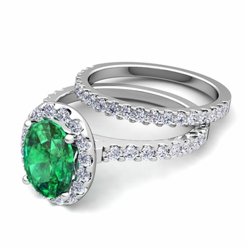 Bridal Set: Pave Diamond and Emerald Engagement Wedding Ring in Platinum, 7x5mm